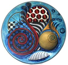 """Hand painted lazy susan, """"Faded Circus by the Sea"""", abstract, steampunk, shabby, hot air balloon, burgundy, blue, gold, water, Ferris wheel"""