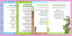 Jack and the Beanstalk Songs and Rhymes Resource Pack