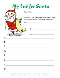 Printable Santa Wish List Best 20 Christmas Ideas Resume