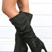 Wild Rose Gilly45 Black Buckled Platform Knee Boots and Shop Boots at MakeMeChic.com