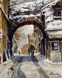 City Painting, Winter Painting, Painting & Drawing, Watercolor Artists, Watercolor Paintings, Turkish Art, City Art, Graphic Prints, Creative Art