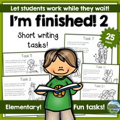 """Short writing tasks! Students work in different paces, and some are eager to share whenever they are finished. Others will at that point have quite a bit of work left to do. The """"I'm finished""""-packs are created to occupy the early finishers, and this is the second pack in the series."""
