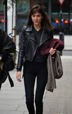 Alexa Chung in a leather jacket