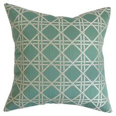 """Cotton pillow with a lattice motif. Made in the USA.   Product: PillowConstruction Material: Cotton cover and 95/5 down fillColor: AquaFeatures:  Insert includedHidden zipper closureMade in the USA  Dimensions: Small: 18"""" x 18""""Large: 20"""" x 20"""" Cleaning and Care: Spot clean"""