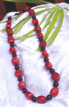 Red coral, semi precious stone with black beads necklace $45.95 I Love Jewelry, Red Coral, Beaded Necklace, Jewellery, Beads, Stone, Handmade, Etsy, Beaded Collar