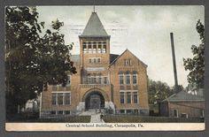 CENTRAL SCHOOL BUILDING IN CORAOPOLIS, PA ON 1910 POST CARD