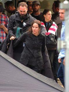 Jennifer Lawrence on the set of Mockingjay Part 2. May 8th 2014.
