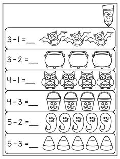 Halloween Subtraction Worksheet for Kindergarten. Subtraction to This Kindergarten Halloween Worksheet Pack features 44 NO PREP worksheets. The pac. Halloween Math Worksheets, Kindergarten Math Worksheets, Worksheets For Kids, Math Literacy, Preschool Halloween, Kindergarten Prep, Subtraction Kindergarten, Subtraction Activities, Math Activities