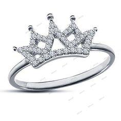 Round Sim Diamond 14K White Gold Over in 925 Silver Elizabeth Crown Fashion Ring #affordablebridaljewelry #ElizabethCrownRing #EngagementWeddingAnniversaryPartyValentine