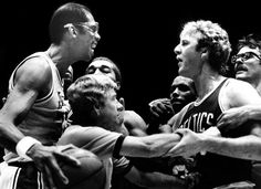 Larry Bird and Kareem Abdul-Jabbar go at one another during game 4 of the 1984 NBA finals. Bird leads the Celtics to victory in the game and eventually the series for Championship number Lakers Vs Celtics, Celtics Basketball, Basketball Tickets, Basketball Legends, Boston Celtics, Basketball Players, Celtics Gear, Basketball Scoreboard, Dodgers Baseball