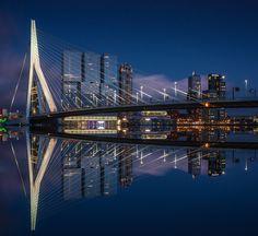 De skyline van Rotterdam met de Erasmusbrug reflecteren in de maas.