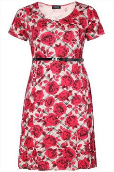 Red Rose Checked Print Skater Dress With Patent Belt plus size 16,18,20,22,24,26,28,30,32