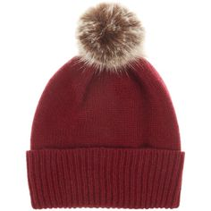 Helen Moore Cashmere hat with faux fur pom pom beanie ($105) ❤ liked on Polyvore featuring accessories, hats, burgundy, burgundy beanie, fake fur hats, pom beanie, pom pom beanie and beanie hats