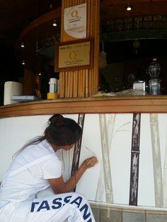 Bambù, acrilico su md. Bancone bar chalet Solero Porto Potenza Picena. By Annalisa Tombesi