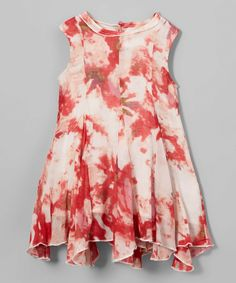 Red Abstract Fit-and-Flare Dress - Infant