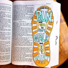Bible Journaling Bible Verse Art Bible Verse Print great for illustrated faith and Art Journal - Run, Walk, Shoe - Faint Not - Isaiah 40:31