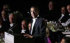 107 - 10/18/12 - President Barack Obama speaks at the 67th annual Alfred E. Smith Memorial Foundation Dinner, a charity gala organized by the Archdiocese of New York, which was also attended by Republican presidential candidate and former Massachusetts Gov. Mitt Romney, Thursday, Oct. 18, 2012, at the Waldorf Astoria hotel in New York. ((AP Photo/Charles Dharapak))