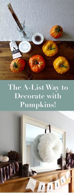 Decorate with Pumpkins! This beginner friendly DIY tutorial shows you how to create an easy and affordable for mantle with pumpkins! Perfect for decorating for Thanksgiving or autumn. This tutorial is budget friendly and beginner friendly