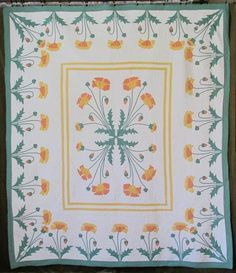 Outstanding MARIE WEBSTER dtd 1929 ANTIQUE Applique POPPY QUILT Vintageblessings