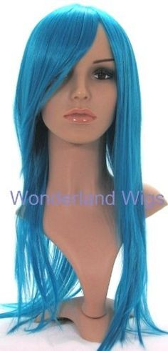 Long Bright Blue Turquoise Coloured Wig - Layered Straight Blue Wig Cosplay by Wonderland Wigs. $37.99. Same day despatch. Long Bright Blue Turquoise Coloured Wig - Layered Straight Blue Wig Cosplay. Discreet packaging. Length: long. 100% Kanekalon synthetic fibre - high quality natural look. This truly stunning long wig has a sweeping eye length fringe, and is a striking bright blue/turquoise shade. It is straight, with long length face framing layers. At the crown of the wig th...