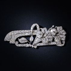Art Deco Platinum Diamond Floral Brooch