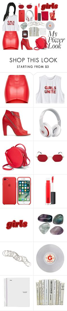 """""""my power look//contest"""" by gaaaaalaxy ❤ liked on Polyvore featuring Maison Margiela, Beats by Dr. Dre, MAC Cosmetics, H&M and Hot Topic"""