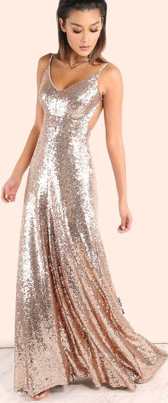 SHEIN Backless Sequin Cami Maxi Dress ROSE GOLD ,maxi dresses for women , long dresses for women ,maxi dresses for tall women Bridesmaid Dresses, Prom Dresses, Formal Dresses, Summer Dresses, Sleeveless Dresses, Summer Maxi, Pink Summer, Bridesmaids, Formal Prom
