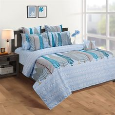Shop this Blue Fern Print Veda Fitted Bed Sheet with 2 Pillow Covers Online from WoodenStreet. #fittedbedsheets #fittedsheets #kingsizefittedbedsheets #cottonfittedbesheets #fittedbedsheetsonline Bed Sheets Online, Bedding Sets Online, Pillow Covers Online, Wooden Street, Fitted Bed Sheets, Cotton Bedding Sets, Bed In A Bag, Amazing Spaces
