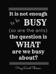 It is not enough to be busy {so are the ants} the question is what are we busy about?
