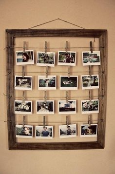 Use a large old frame as a photo display.