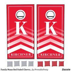 Family Name Red Faded Chevron Monogram Modern Cornhole Set Custom Cornhole Boards, Cornhole Set, Cornhole Tournament, Cross Beam, Chevron Monogram, Epic Games, School Colors, 2 Set, Board Games
