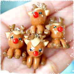 Rudolph Kawaii Charm Pendant Necklace Polymer Clay Miniature Food Jewelry made by Sweet Clay Creations
