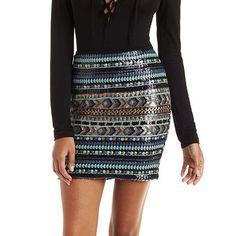 Tribal Sequin Mini Skirt