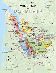 Wine map of Bordeaux area, France.