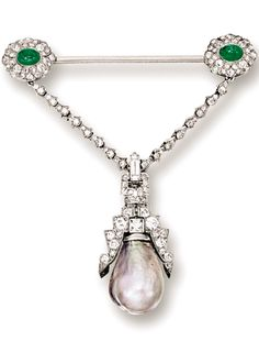 NATURAL PEARL, EMERALD AND DIAMOND BROOCH, CIRCA 1910 The pendant suspending on a natural pearl measuring approximately 8.70 - 12.50 x 18.20mm, supported by a bar brooch set with two cabochon emeralds, embellished by variously-cut diamonds, mounted in 18 karat white gold, pendant detachable.