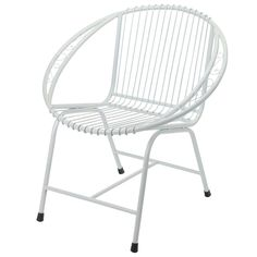 Outdoor Metal Chairs, Veranda Outdoor Modern White Wire Chair - White Filigree