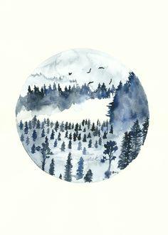 een blauw landschapje in een rondje. een meditatief stukje kunst. Blue Forest Art Print, 8x11, Watercolor Painting, Quote Art, Misty Landscape…