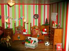 View of the elves bedroom in the gingerbread house