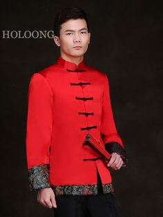 Men wear Tangzhuang Full sleeve Spring Tang Groom & Groomsmen Chinese Man, Chinese Style, Groom Wear, Groom Suits, Oriental Fashion, Oriental Style, African Wear Styles For Men, Traditional Chinese Wedding, Fashion Vocabulary
