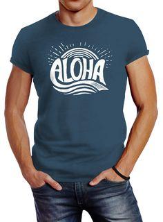 Herren T-Shirt Aloha Wellen Surfing Sommer Slim Fit Neverless® Herren T Shirt, Slim Fit, Surfing, Fitness, Mens Tops, Fashion, Waves, Moda, Fashion Styles