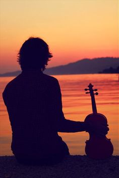 violin sunset