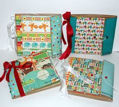 Paper bag albums with flaps...cute for school days keepsakes
