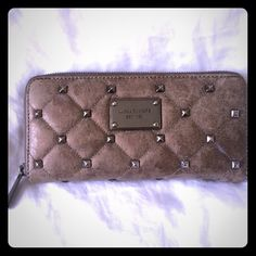 AUTHENTIC Michael Kors Wallet Gray/Silver studded detailing double panel wallet. 100% authentic, like new condition. Michael Kors Other