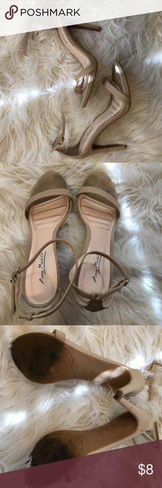 Strappy Nude Heels - 9 Worn for 3 Events, Slight Markings as Shown in Pics. Suede-Like Material. Bought @ a Local Boutique 💚💚💚 Anne Michelle Shoes Heels