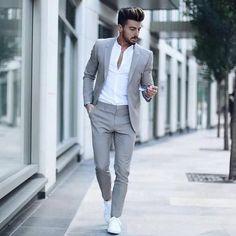 Suit fashion - Men's Classic Solid Color Slim Suit Set Fashion Night, Winter Fashion, Mode Man, Mode Costume, Slim Suit, Mens Tailored Suits, Mens Casual Suits, Blazers For Men Casual, Casual Blazer