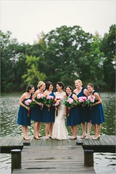 navy one shoulder bridesmaid dresses from bhldn