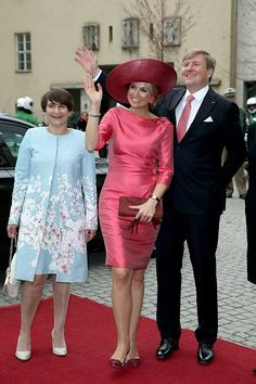 Dutch Minister for Foreign Trade Lilianne Ploumen, King Willem-Alexander and Queen Maxima in Bavaria, Germany. April 13, 2016