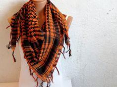 Halloween Fabric Scarf Square Pattern Orange by WomanStyleStore, $19.00 Halloween Fabric, Plaid Scarf, Scarves, Orange, My Style, Pattern, Fashion, Scarfs, La Mode