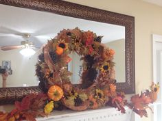 Fall decoration for fireplace