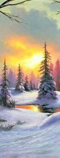 Winter sunset painting, Snow covered trees and creek in golden glow.